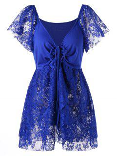 Plus Size Front Knot Lace Panel Blouse - Blue 2xl