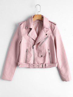 Zip Up Belted Faux Leather Biker Jacket - Light Pink L
