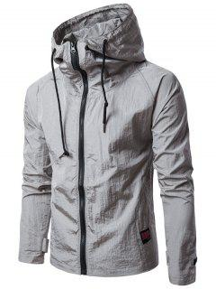 Hooded Raglan Sleeve Drawstring Zip Up Lightweight Jacket - Gray M