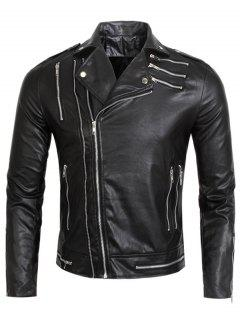 Turndown Collar Multi Zippers Faux Leather Jacket - Black 2xl