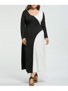 Plus Size Two Tone Long Sleeve Dress - White And Black 4xl