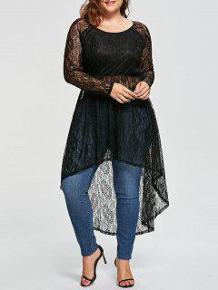 Plus Size See Thru High Low Longline Lace Blouse - Black 4xl