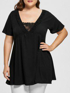 V Neck Short Sleeve Plus Size Tunic Top - Black Xl
