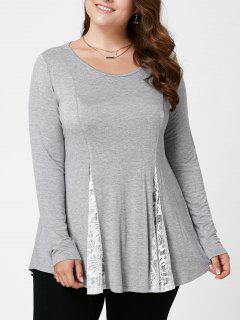 Plus Size Lace Insert Flare Top - Light Grey 4xl