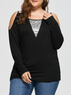 Plus Size Cold Shoulder Sequined Insert Top - Black Xl