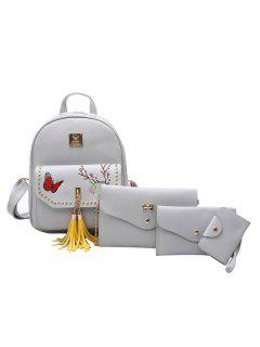 Embroidery Studded Tassels Backpack Set - Gray