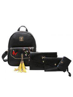 Embroidery Studded Tassels Backpack Set - Black