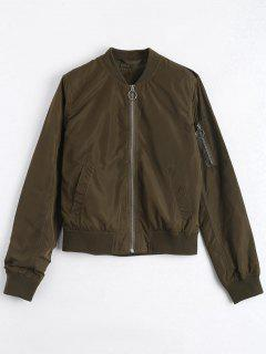 Invisible Pockets Zippered Bomber Jacket - Army Green S