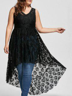 See Through Lace High Low Plus Size Top - Black Xl
