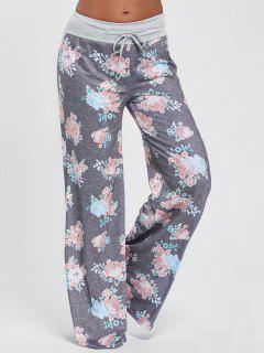 Drawstring Floral Wide Leg Pants - Light Gray 2xl
