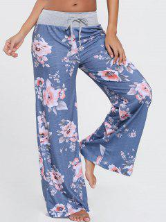 Pantalones Florales De Cordón Ancho Para Las Piernas - Azul 2xl