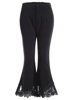 Lace Hem Ninth Length Flare Pants - Black L