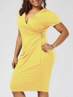 Plus Size Overlap Plain Tight Surplice V Neck Sheath Dress - Yellow 3xl