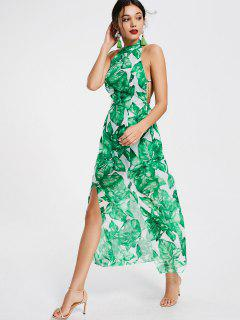 Leaves Print Open Back Slit Maxi Dress - Green L