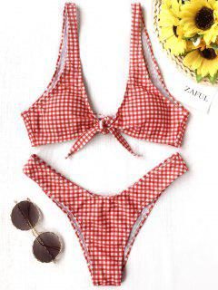 Front Tie Thong Plaid Bikini Set - Red And White Xl