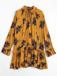 Floral Print Ruffle Hem Dress - Ginger S