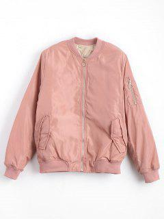 Zip Up Invisible Pockets Bomber Jacket - Pink L
