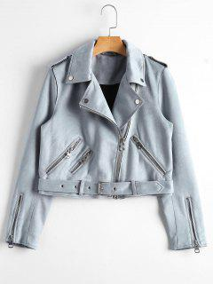Asymmetric Zipper Belted Faux Suede Jacket - Blue Gray L