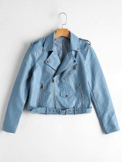 Zip Up Belted Faux Leather Biker Jacket - Light Blue Xl