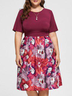Plus Size A Line Floral Midi Dress - Purplish Red 2xl