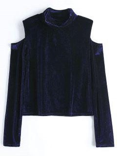 Crushed Velvet Cold Shoulder Top - Purplish Blue M