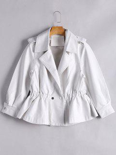 Snap Buttons Faux Leather Jacket - White L