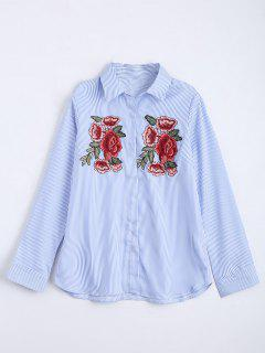 Floral Embroidered Patches Stripes Shirt - Light Blue L