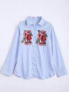 Chemise à Rayures Brodées à Motifs Floraux - Bleu Léger  L