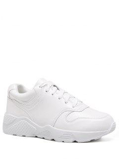 Running Faux Leather Sneakers - White 38