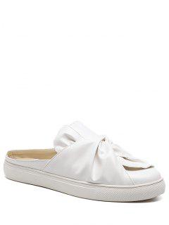 Faux Leather Bowknot Slip On Flats - White 39