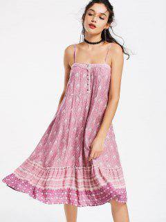 Half Buttoned Tribal Swing Slip Dress - L