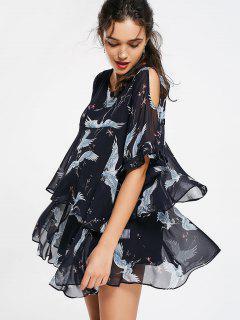 Layered Crane Cold Shoulder Flowy Dress - Black L