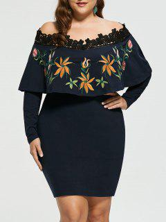 Embroidery Plus Size Off Shoulder Bodycon Dress - 3xl