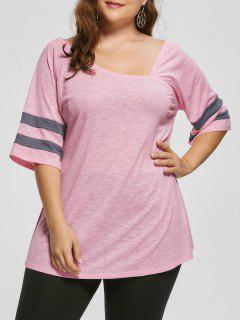 Plus Size Skew Kragen Tunika Top - Pink 3xl
