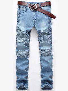 Zip Fly Pleated Slim Biker Jeans - Light Blue 36