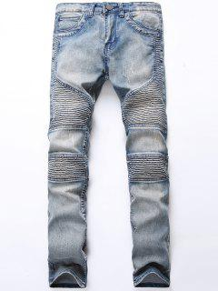 Light Wash Zip Fly Biker Jeans - Light Blue 34