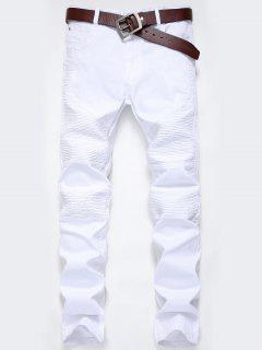 Zip Fly Pleat Design Biker Jeans - White 32