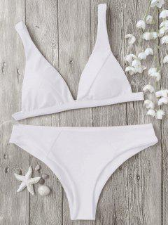 Padded Plunge Bikini Top And Bottoms - White S
