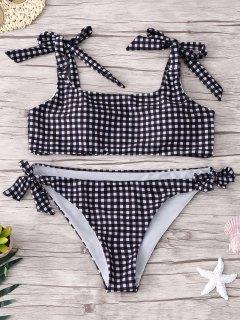 Conjunto De Bikini A Cuadros Atados - Comprobado M