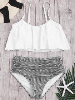 Plus Size Striped High Waisted Bikini Set - White 4xl