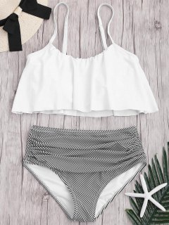 Plus Size Striped High Waisted Bikini Set - White 2xl