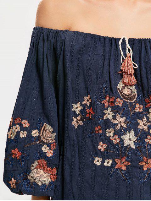Floral brodé du chemisier - Bleu Violet TAILLE MOYENNE Mobile