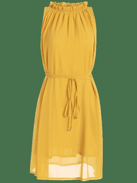sale Ruffled Neck Sleeveless Chiffon Dress - GINGER M Mobile