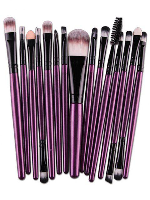 fancy Stylish Multifunction 15 Pcs Plastic Handle Nylon Makeup Brushes Set - PURPLE  Mobile