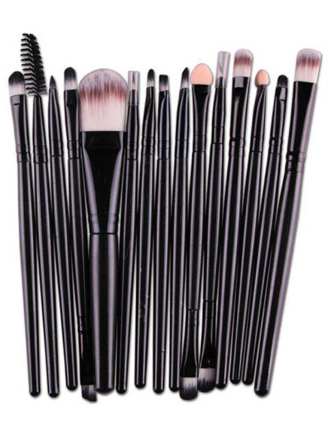 unique Stylish Multifunction 15 Pcs Plastic Handle Nylon Makeup Brushes Set - BLACK  Mobile