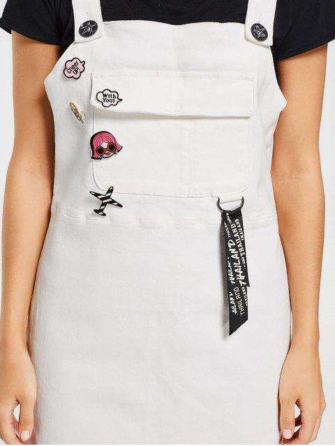 women's Patched Embroidered Pinafore Mini Dress - WHITE M Mobile