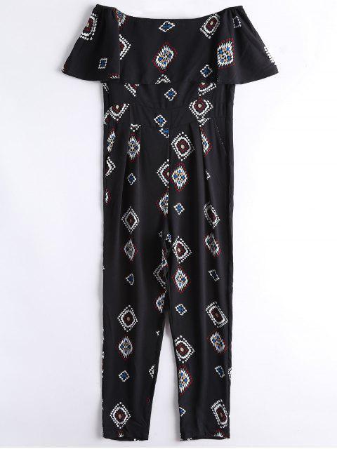 fancy Geometric Overlay Off Shoulder Jumpsuit - BLACK XL Mobile