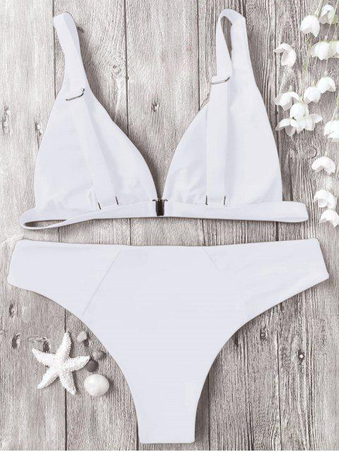 unique Padded Plunge Bikini Top and Bottoms - WHITE XL Mobile