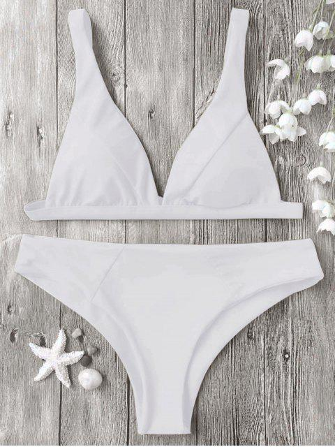 buy Padded Plunge Bikini Top and Bottoms - WHITE S Mobile