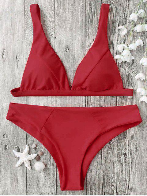 women's Padded Plunge Bikini Top and Bottoms - RED M Mobile